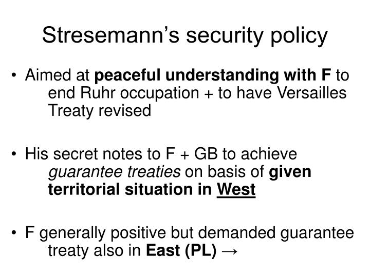 Stresemann's security policy