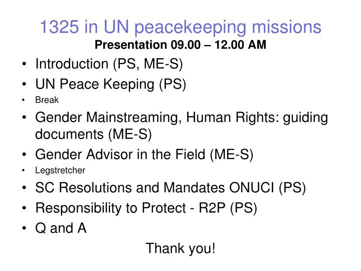 1325 in UN peacekeeping missions