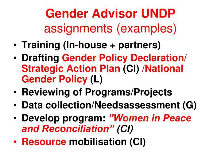 Gender Advisor UNDP