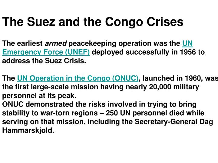 The Suez and the Congo Crises