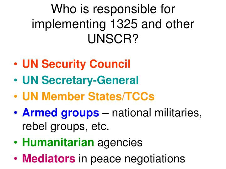 Who is responsible for implementing 1325 and other UNSCR?