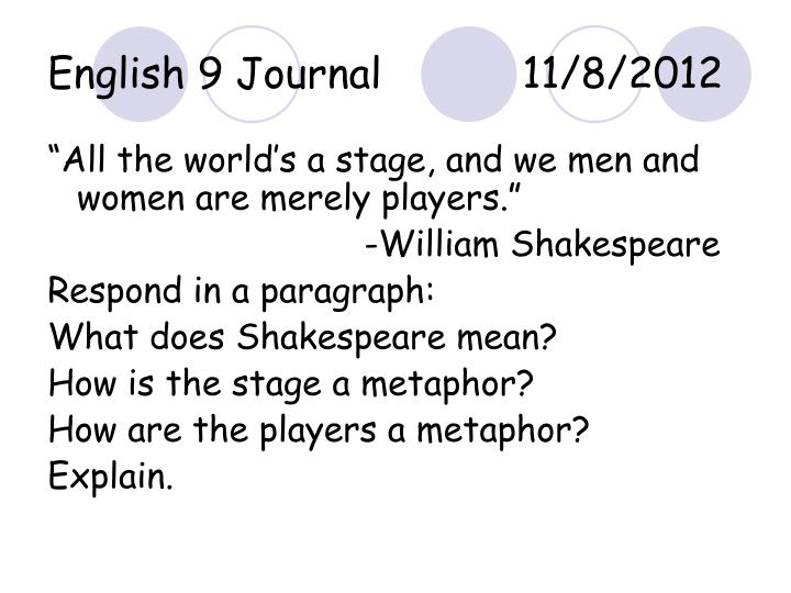 how do you respond to shakespeares presentation essay An examination of the relationship between othello and desdemona, and the racial brabantio's objections to othello all have to do with his essay topics.