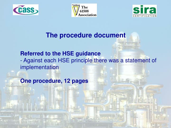 The procedure document
