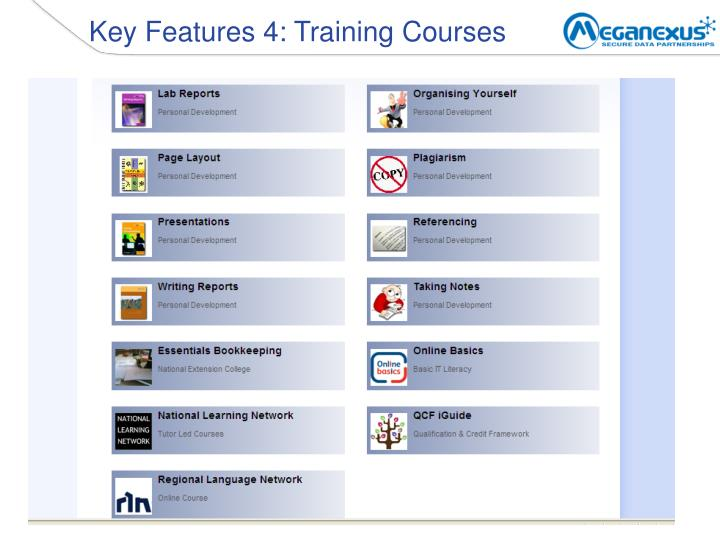 Key Features 4: Training Courses