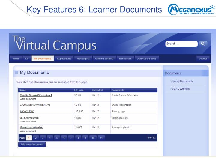 Key Features 6: Learner Documents