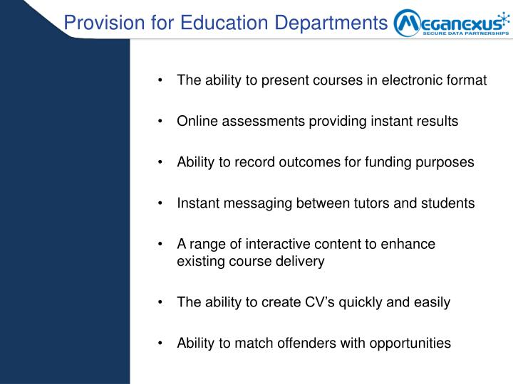 Provision for Education Departments