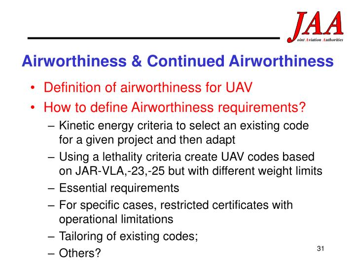 Airworthiness & Continued Airworthiness