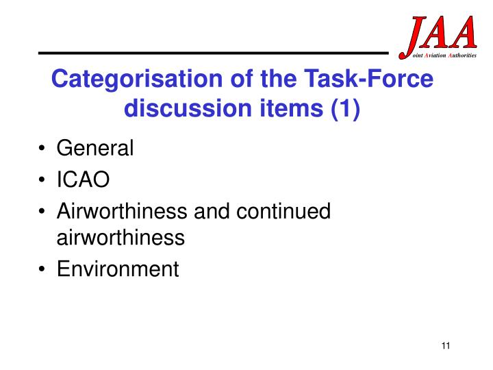 Categorisation of the Task-Force discussion items (1)