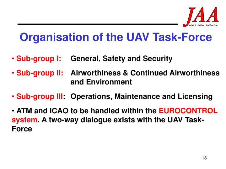 Organisation of the UAV Task-Force