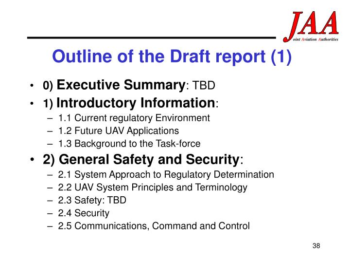 Outline of the Draft report (1)