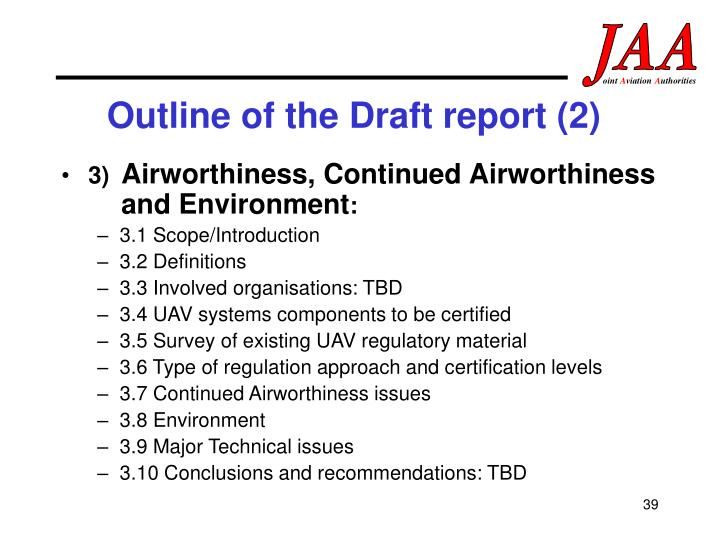 Outline of the Draft report (2)
