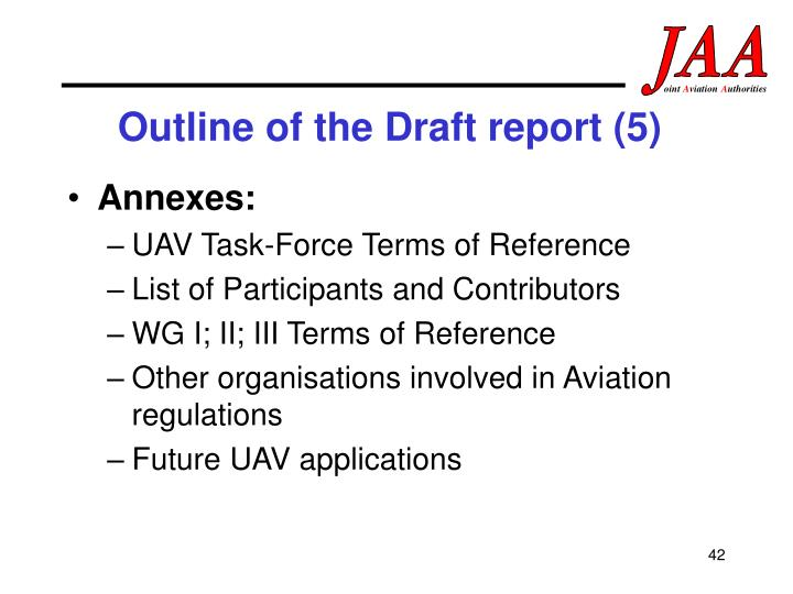 Outline of the Draft report (5)