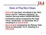 state of play next steps