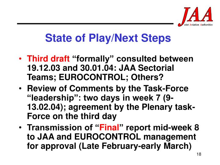 State of Play/Next Steps