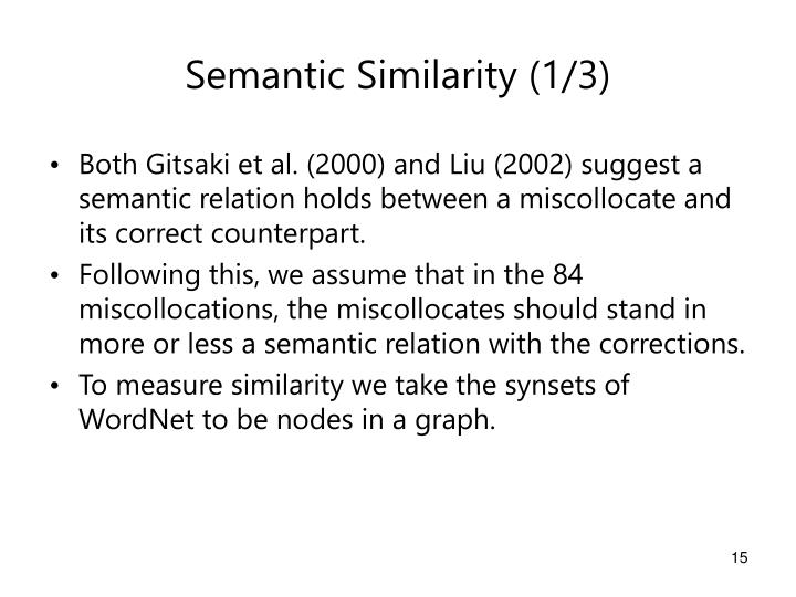Semantic Similarity (1/3)