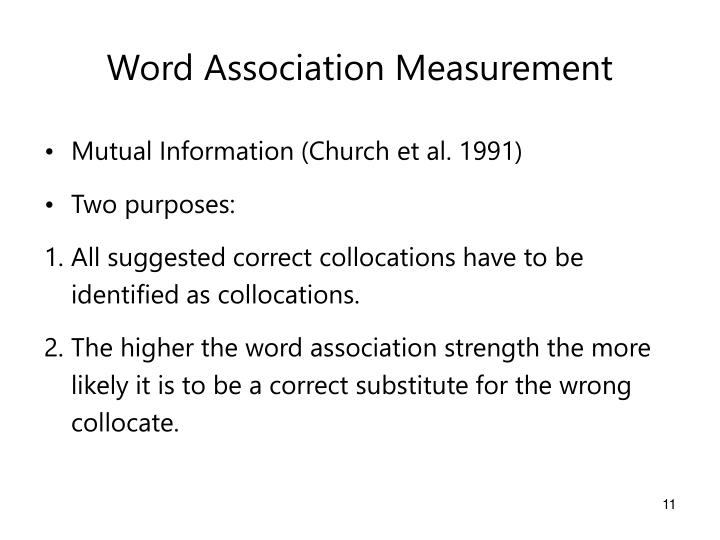 Word Association Measurement