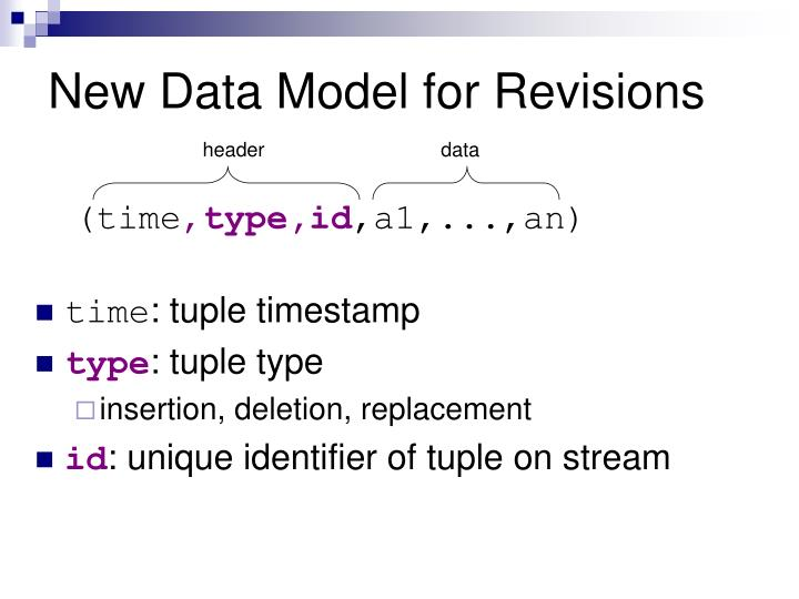 New Data Model for Revisions