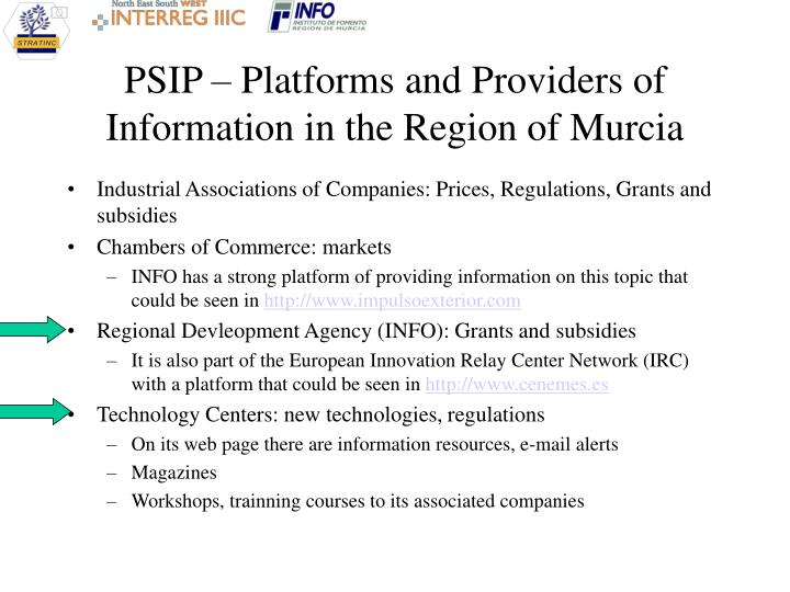 PSIP – Platforms and Providers of Information in the Region of Murcia