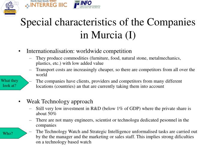 Special characteristics of the companies in murcia i