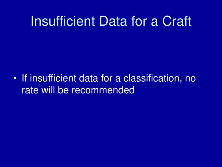 Insufficient Data for a Craft