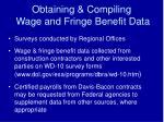 obtaining compiling wage and fringe benefit data