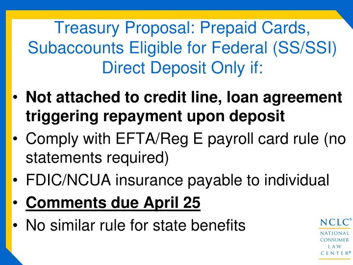 Treasury Proposal: Prepaid Cards, Subaccounts Eligible for Federal (SS/SSI)