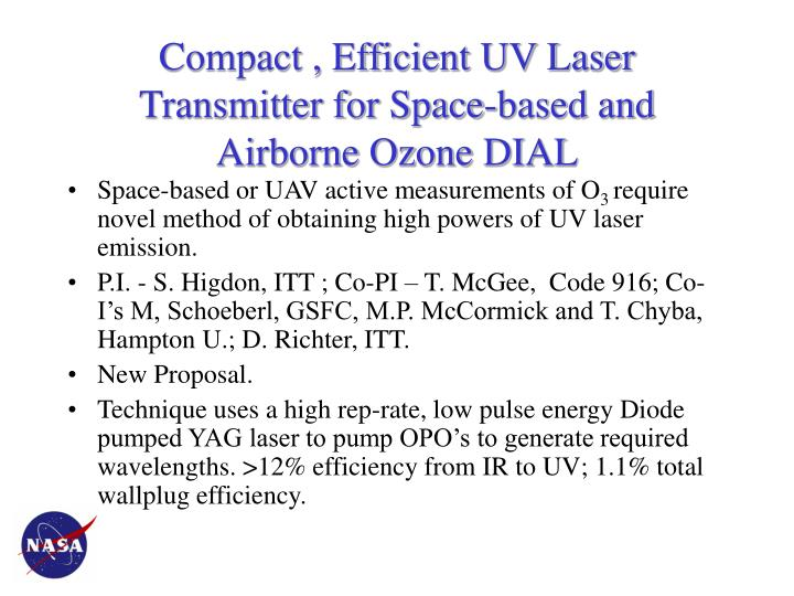 Compact efficient uv laser transmitter for space based and airborne ozone dial