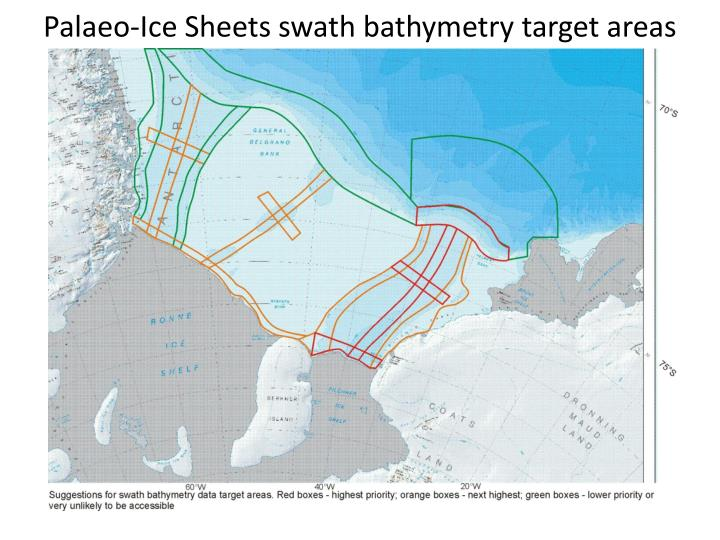 Palaeo ice sheets swath bathymetry target areas