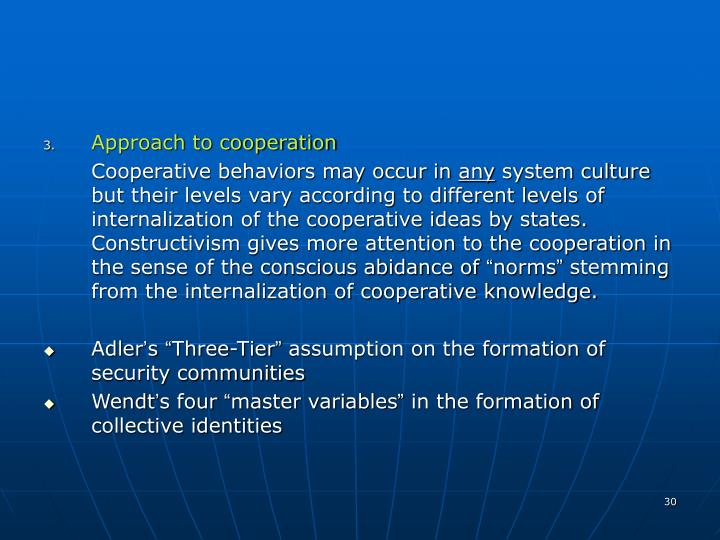 Approach to cooperation
