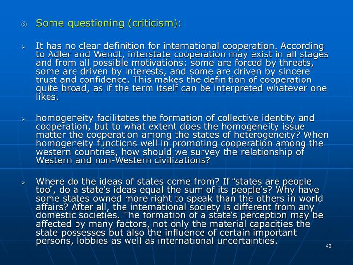 Some questioning (criticism):