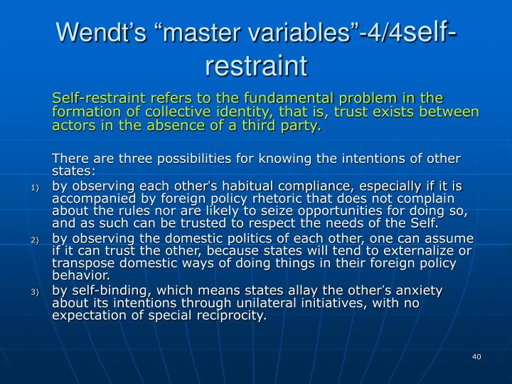 "Wendt's ""master variables""-4/4"