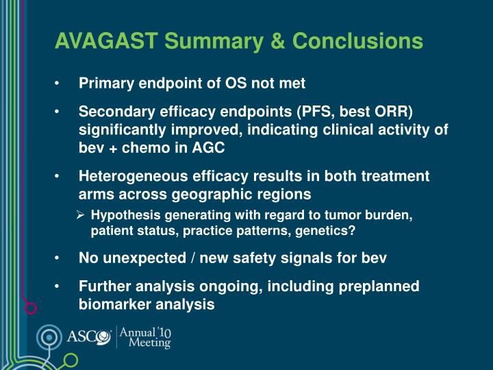 AVAGAST Summary & Conclusions