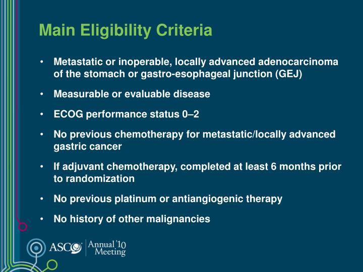 Main Eligibility Criteria