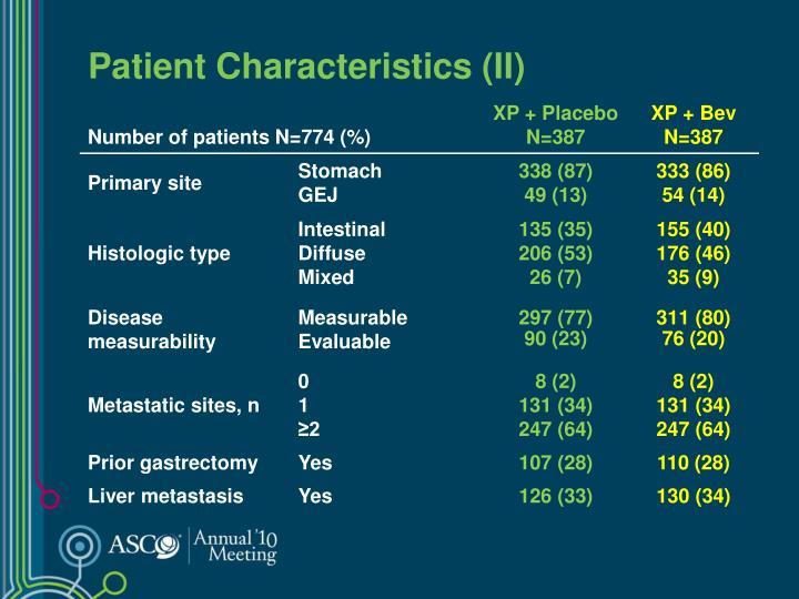 Patient Characteristics (II)