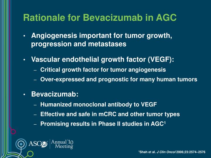 Rationale for bevacizumab in agc