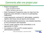 comments after one project year2