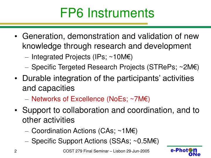 Fp6 instruments