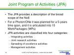 joint program of activities jpa
