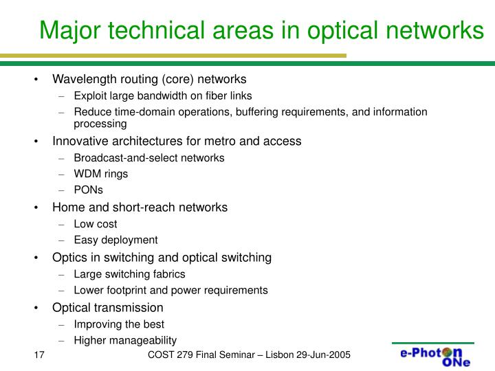 Major technical areas in optical networks