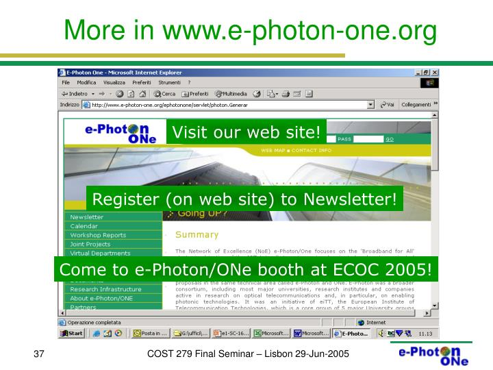 More in www.e-photon-one.org