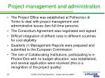 project management and administration