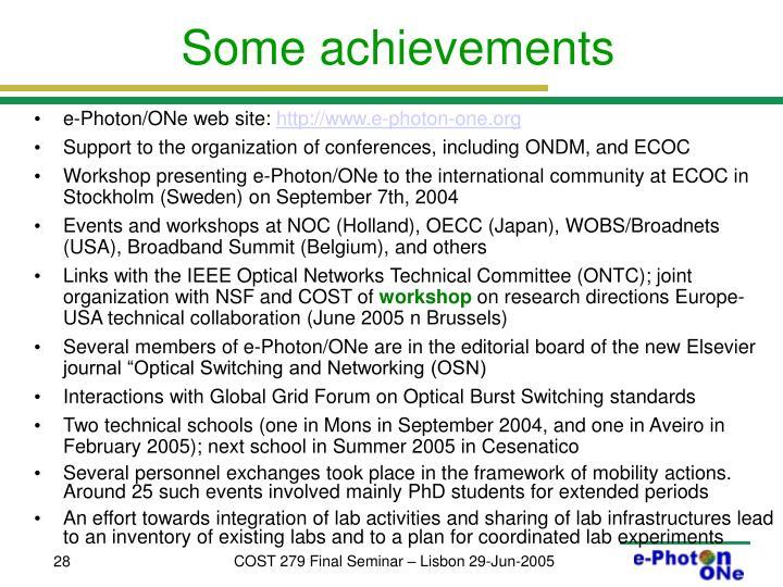 Some achievements
