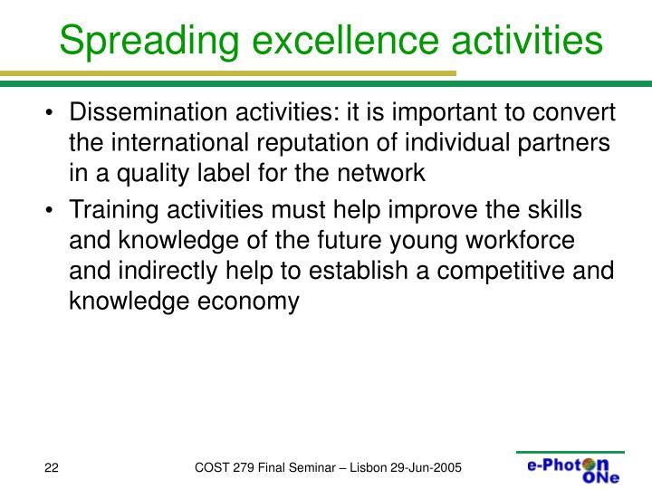 Spreading excellence activities