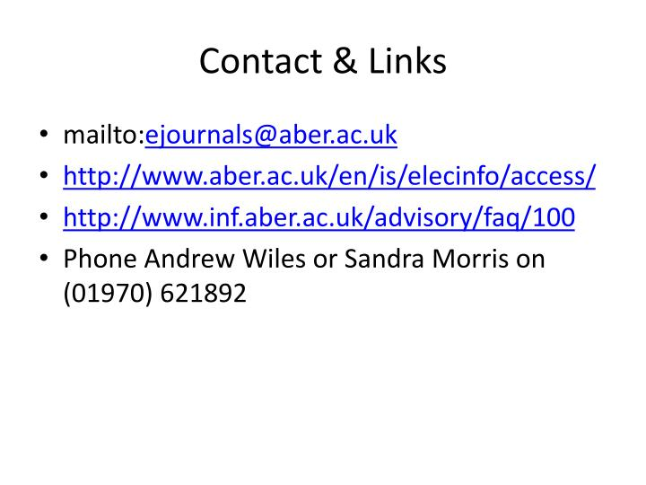 Contact & Links