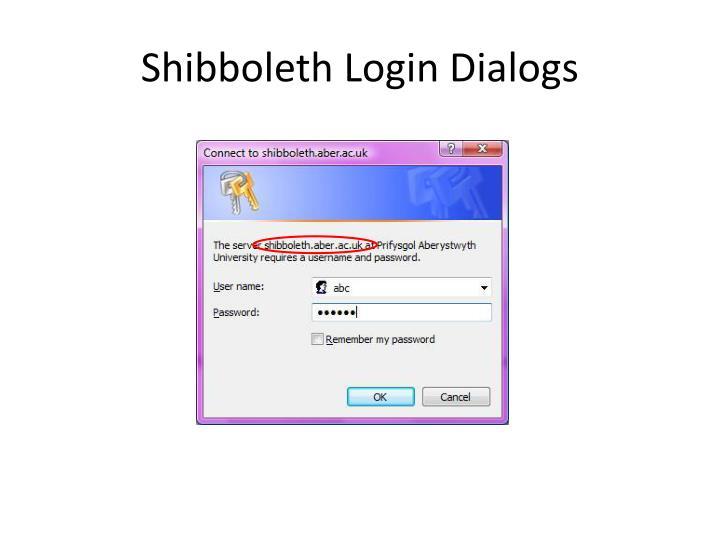Shibboleth Login Dialogs