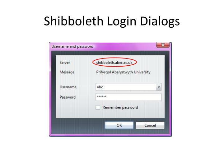 Shibboleth Login Dialogs