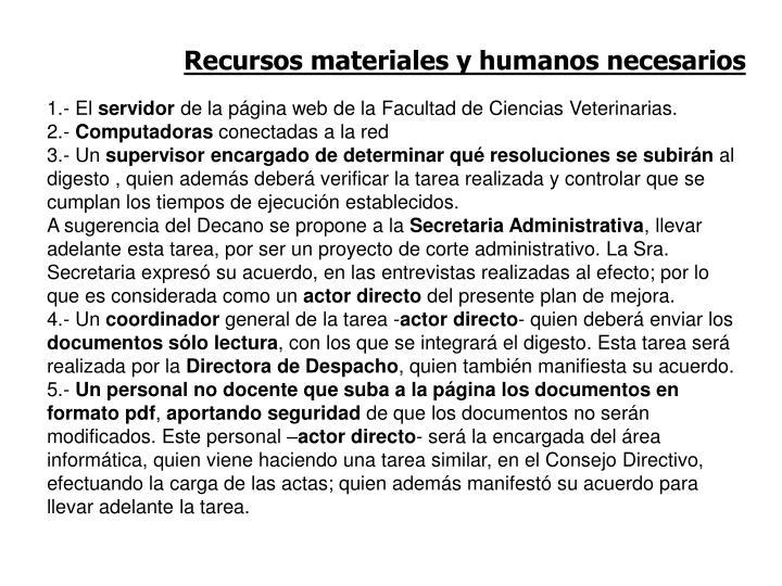 Recursos materiales y humanos necesarios