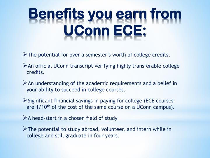 Benefits you earn from uconn ece
