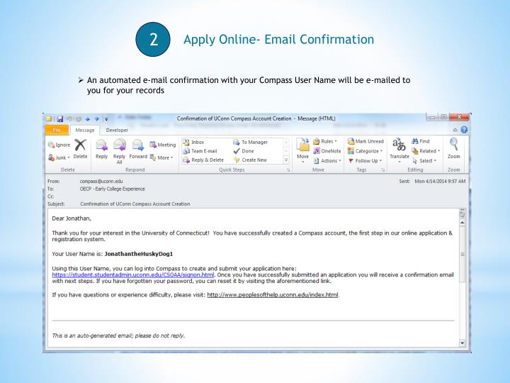 Apply Online- Email Confirmation