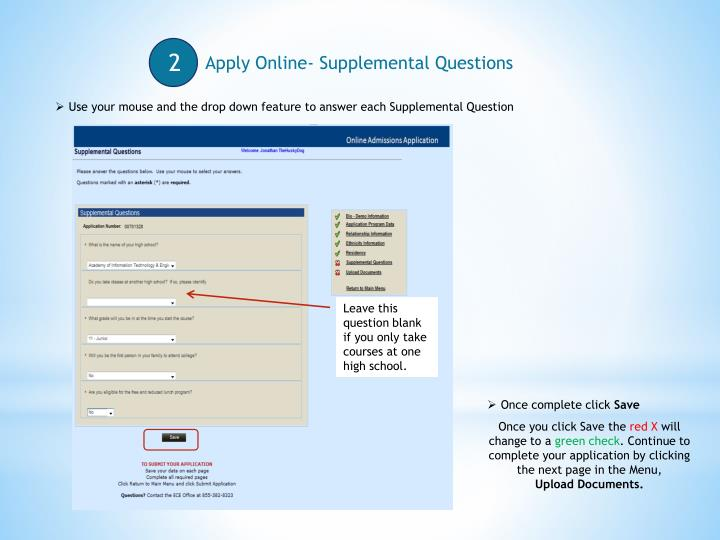 Apply Online- Supplemental Questions